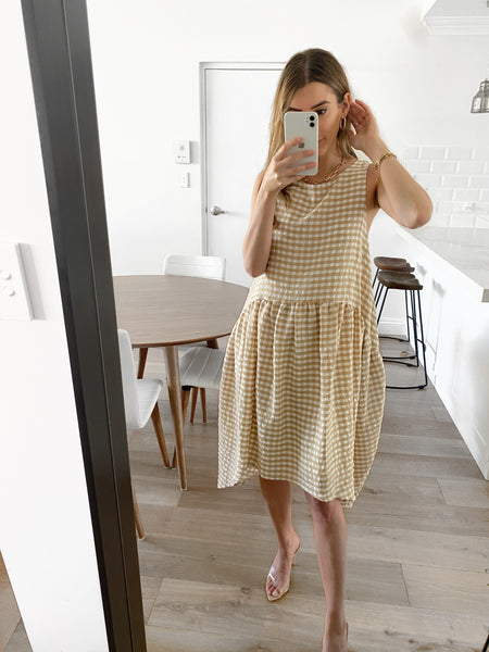 SAIGON Pocketed Dress - Taupe Check