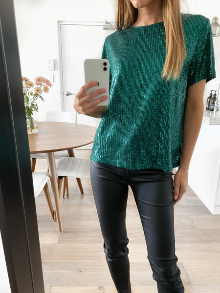 TILLY Sequin Tee - Emerald