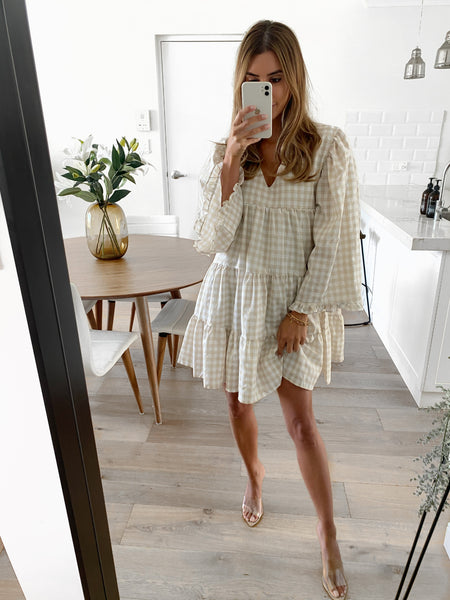 KELSEY Check Tunic Dress - Taupe