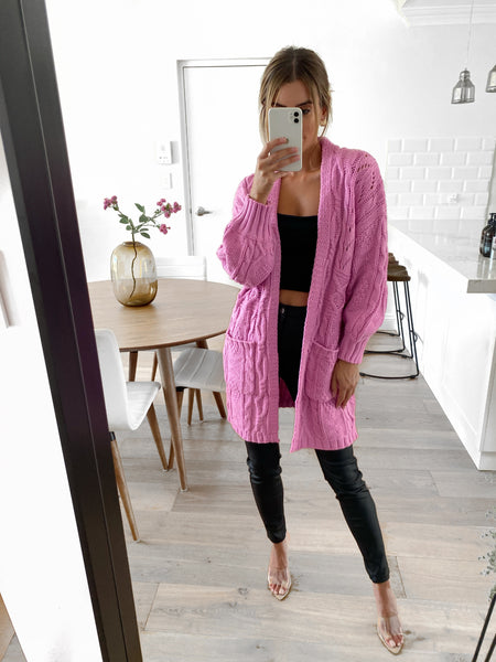 JESSE Chunky Cable Knit Cardy - Bubblegum