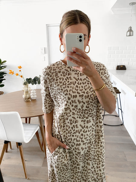 KIEREN Leopard Tee Dress