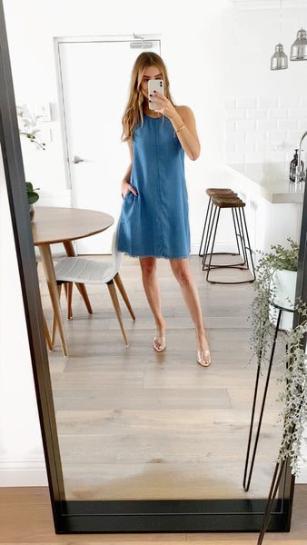 SADIE Tunic Pocketed Dress - Chambray