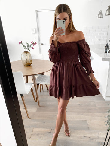 NESS Shirred Linen Dress - Chocolate