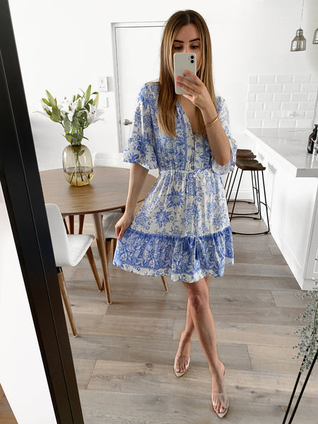 VERONIKA Dress - Blue Floral