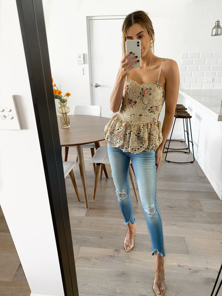 EMORY Embroidered Peplum Top (Pre-order)