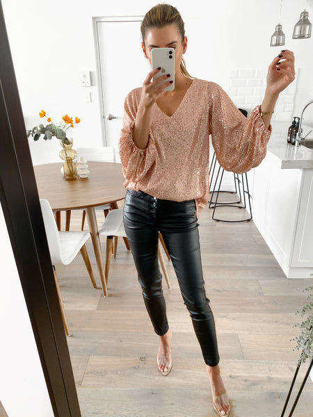 TILLY Sequin Top - Blush