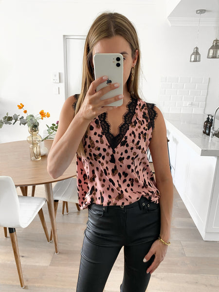CASSON Lace Top - Blush Leopard