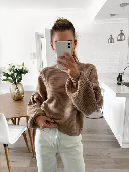 GUILIANA Balloon Sleeve Knit - Latte