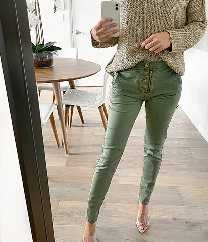 Kat Collar Sweater - Olive (Pre-order)