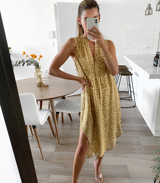 VERA Sleeveless Dress - Mustard Leopard