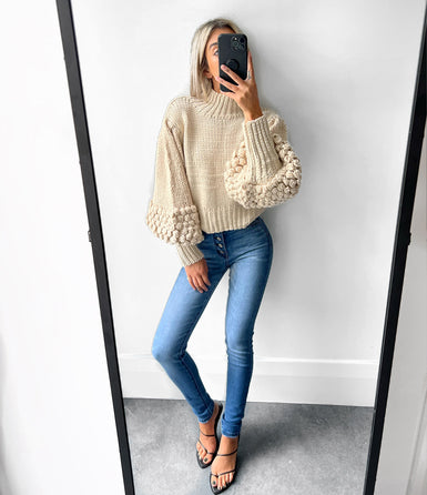 DIXIE Balloon Sleeve Sequin Pullover- Oatmeal