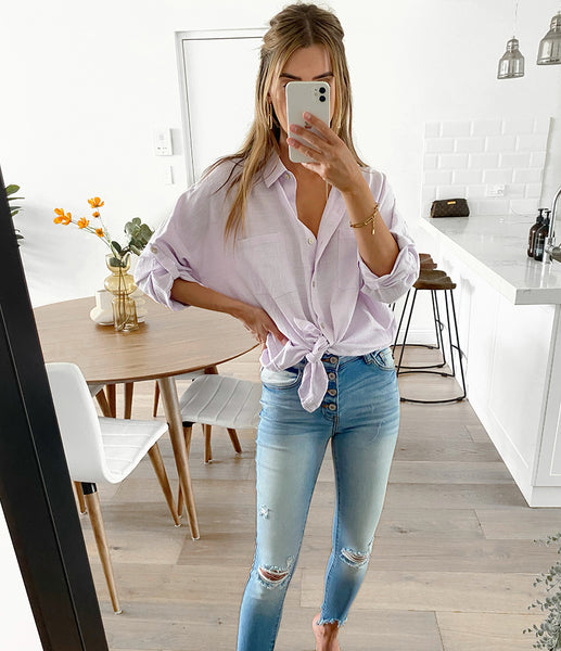 AMIE Button Up - Lavender