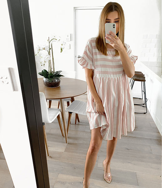 ZENITH Pocketed Tunic Dress - Blush Stripe