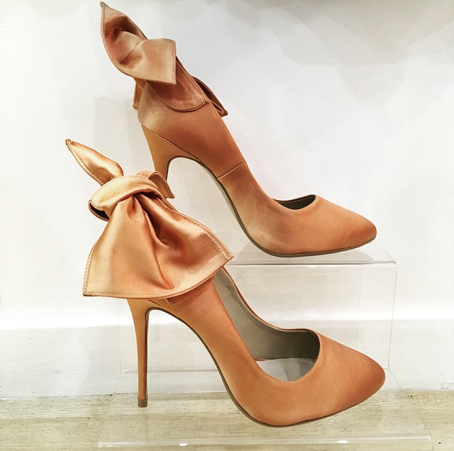 Bronx Aria Heels in Coral Satin