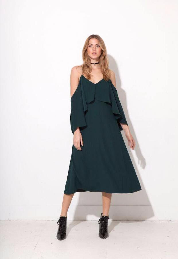Jovonna green ruffle dress-evalucia-boutique-perth