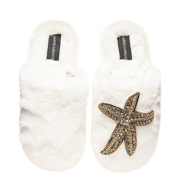 Laines of London Cream with Gold Starfish Slipper Closed Toe