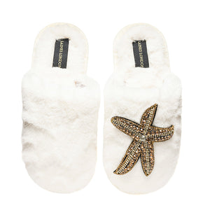 Laines London Cream with Gold Starfish Slipper Closed Toe