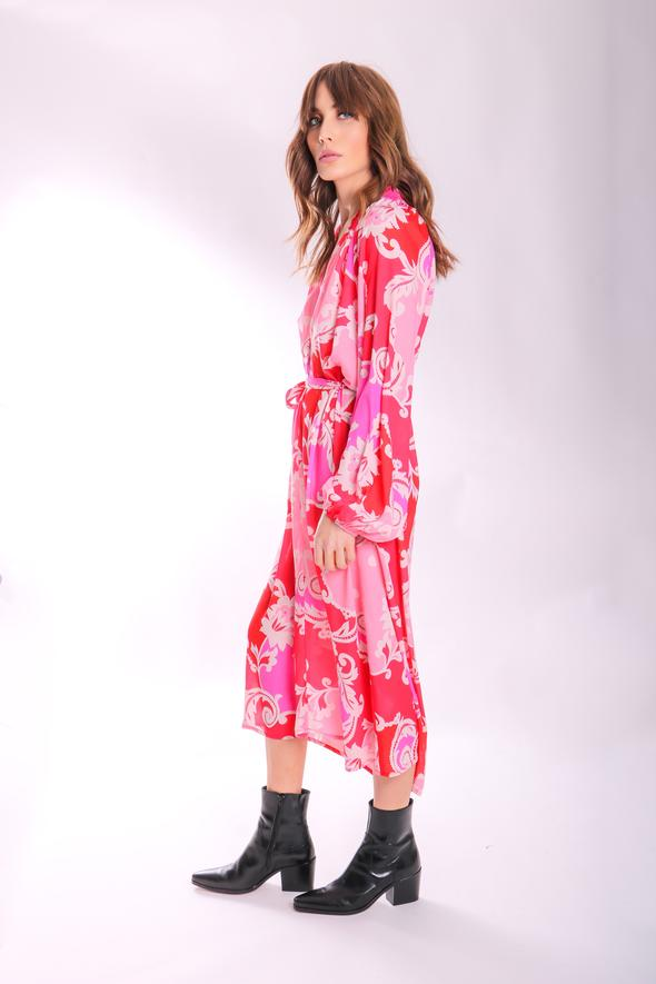 Traffic People  Silenced Long Sleeved Paisley Print Dress in pink and red  PK11999034
