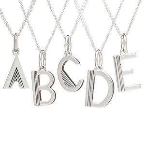 RACHEL JACKSON-ART DECO INITIAL NECKLACE - SILVER