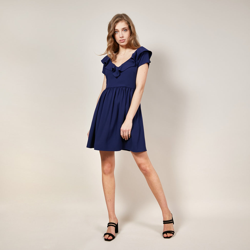 FRNCH Auria Navy Ruffle Skater Dress