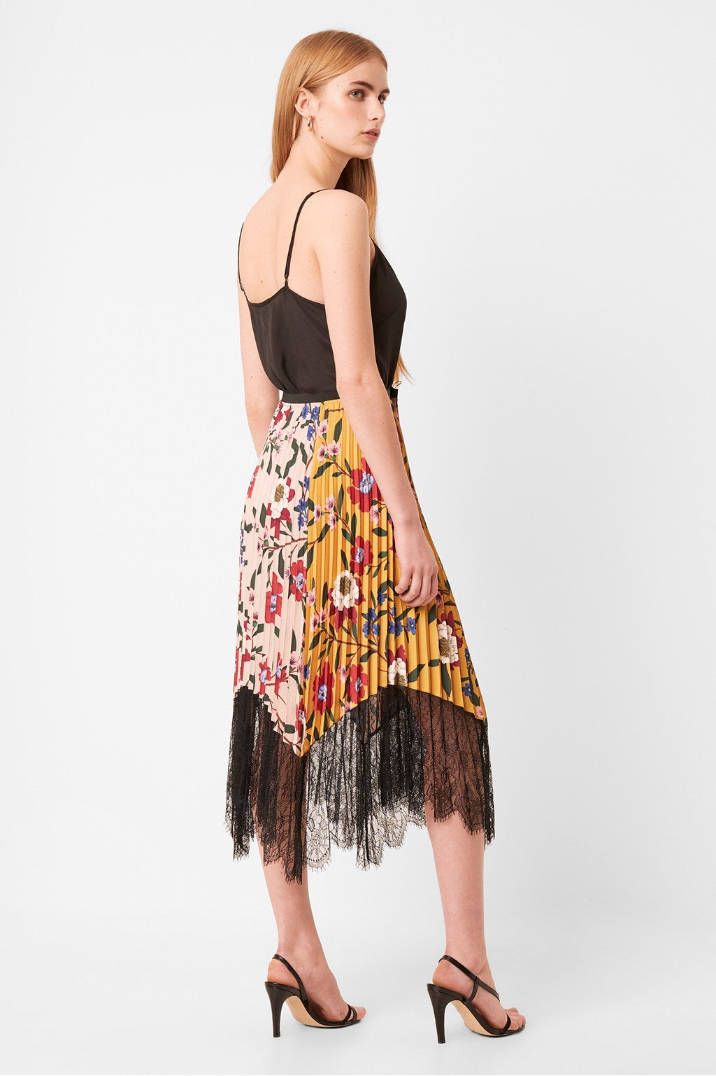 French Connection Abeona Drape Lace Print Pleated Skirt - 73NAI