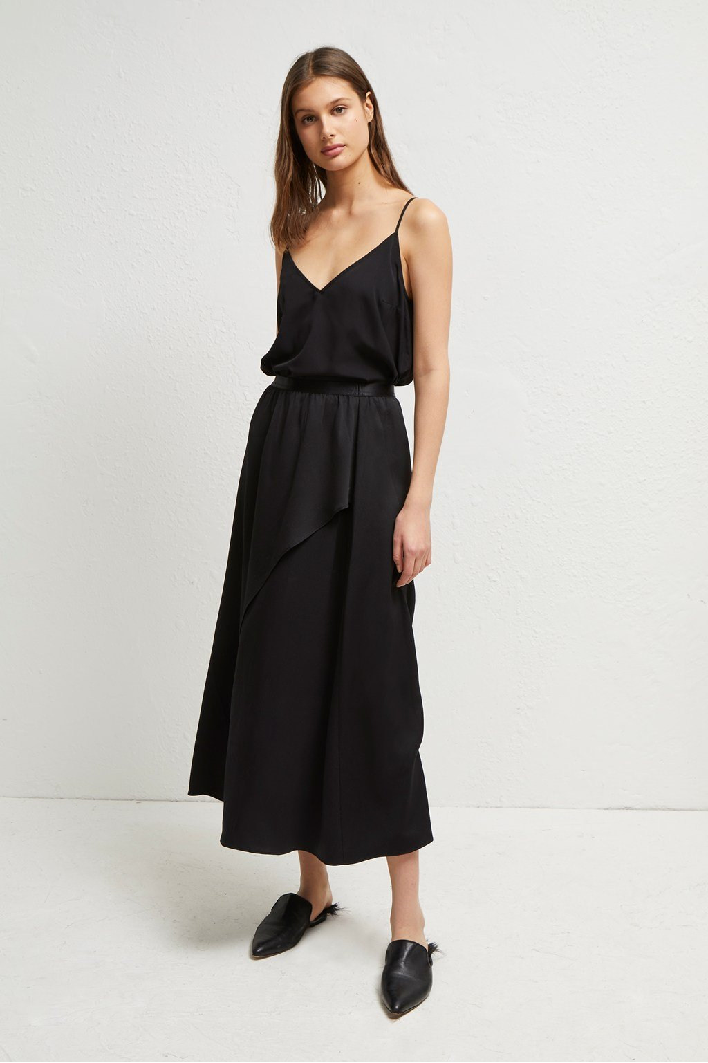 french-connection-alessia-satin-midi-wrap-skirt-black-eva-lucia-boutique-perth-scotland
