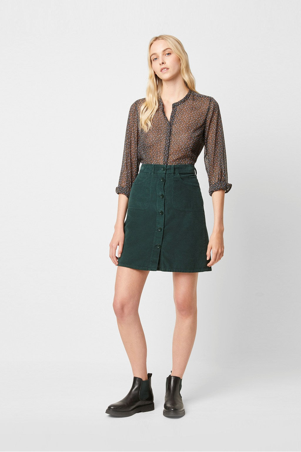 French Connection Manzu Cord Button Down Skirt-73MAQ