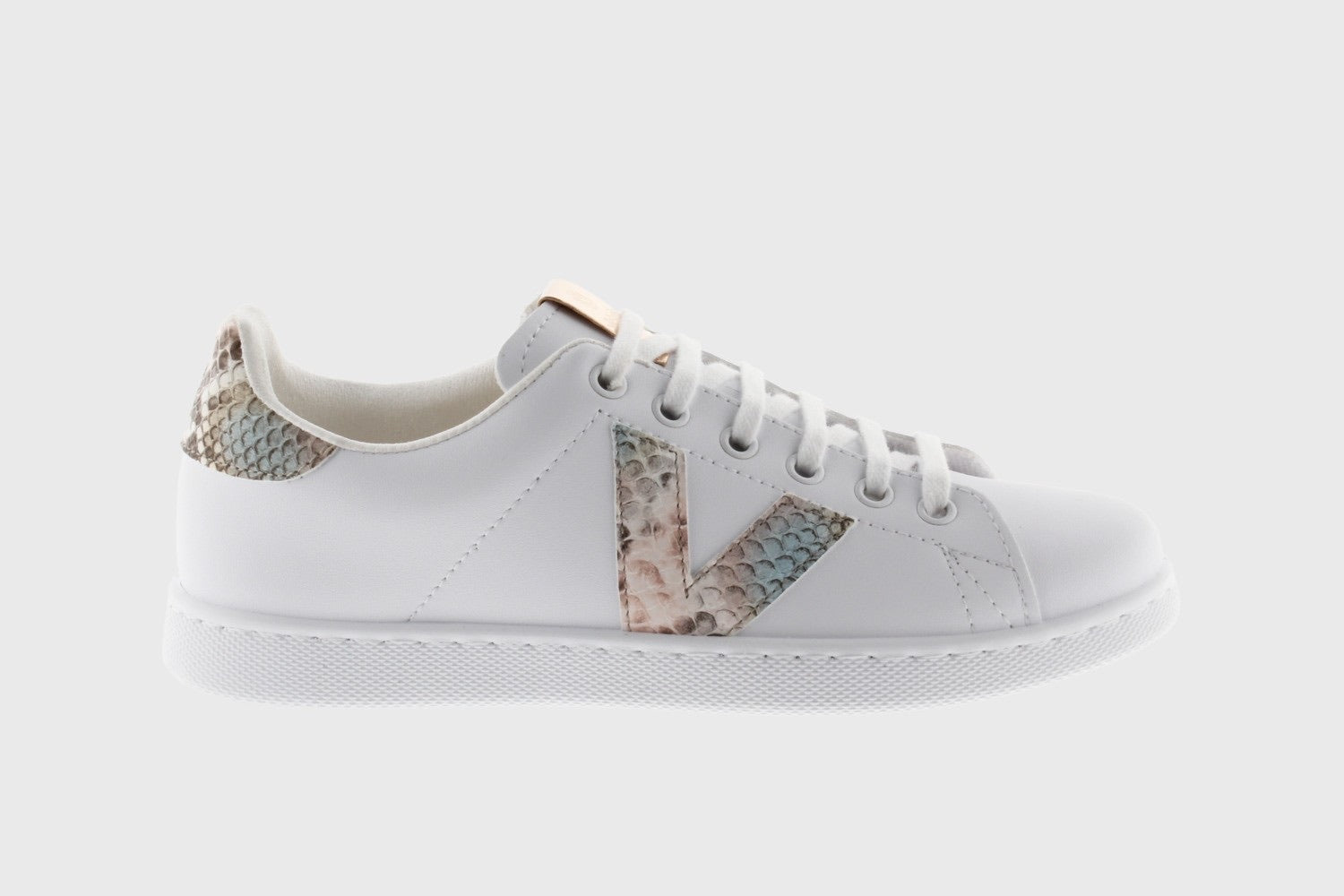 Victoria Snakeskin Print Tennis Shoes - nude - 125225