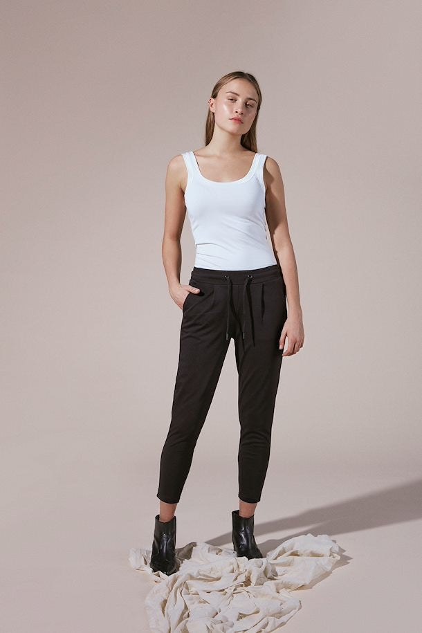 Ichi Kate Cropped Trouser- Black- 20104757