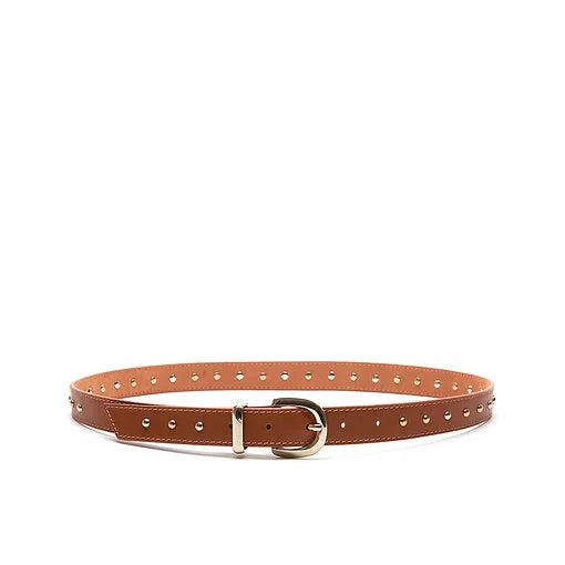 bell & fox erin studded belt in tan nappa leather
