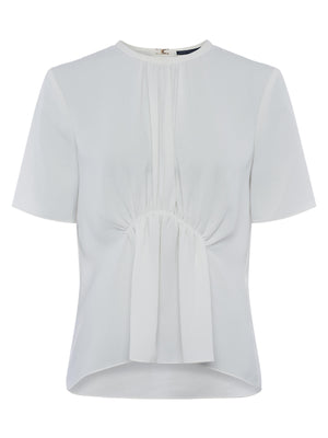 French Connection Emmy Crepe Gathered Top - summer white- 72QAE