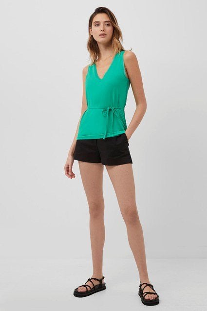 French Connection Tiffanee V-neck Top- palm green-76QAH