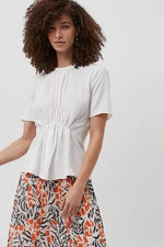 french connection emmy white top with short sleeves and gathered waistline