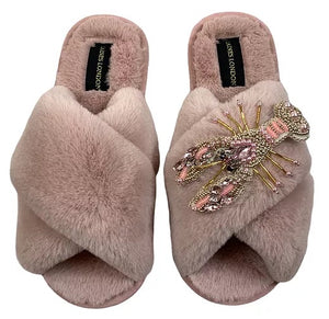 Laines London Pink open toe pearl lobster Slippers