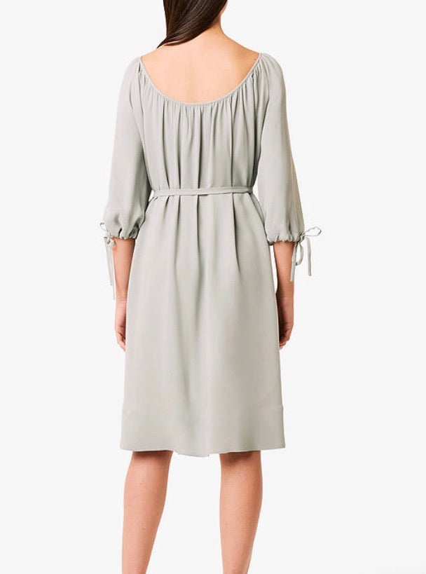 French Connection Alem Crepe Round Neck Dress - silver blue - 71NDT