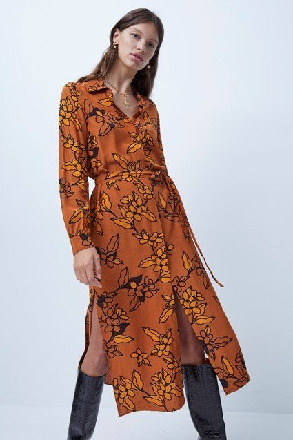 French Connection Cefara Drape Printed Shirt Dress- toffee multi- 71PCA