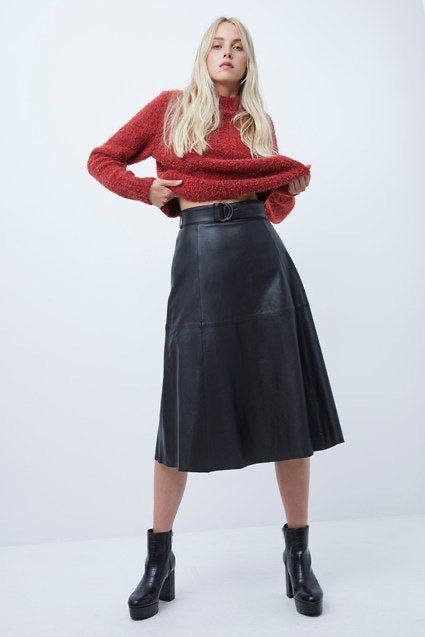 French Connection Arlan Leather Midi Skirt- black- 73PAI