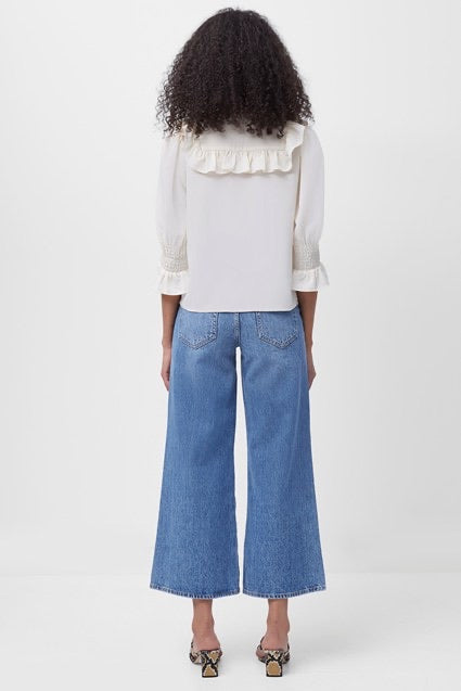 French Connection Piper Cropped Wide Leg Jean - mid blue- 74QAL