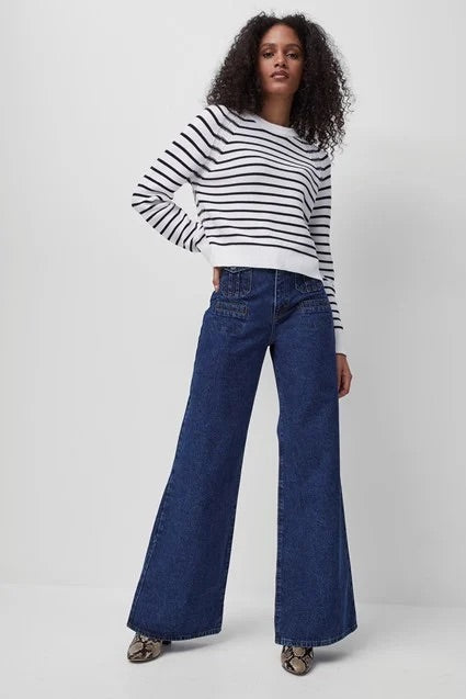 French Connection Lilly Mozart Stripe Jumper-summer white/utility blue-78QBB
