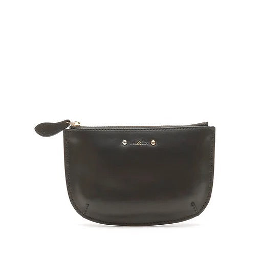 bell & fox faye studded mini leather purse in black nappa leather