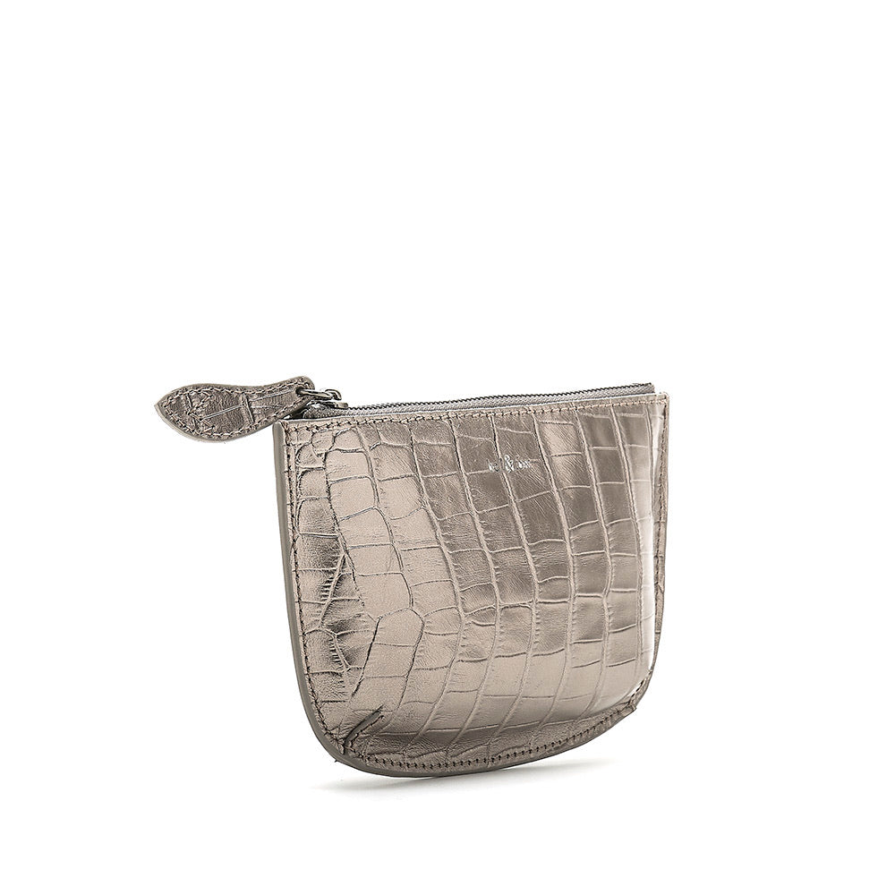 Bell & Fox Faye Mini Leather Pouch - Pewter