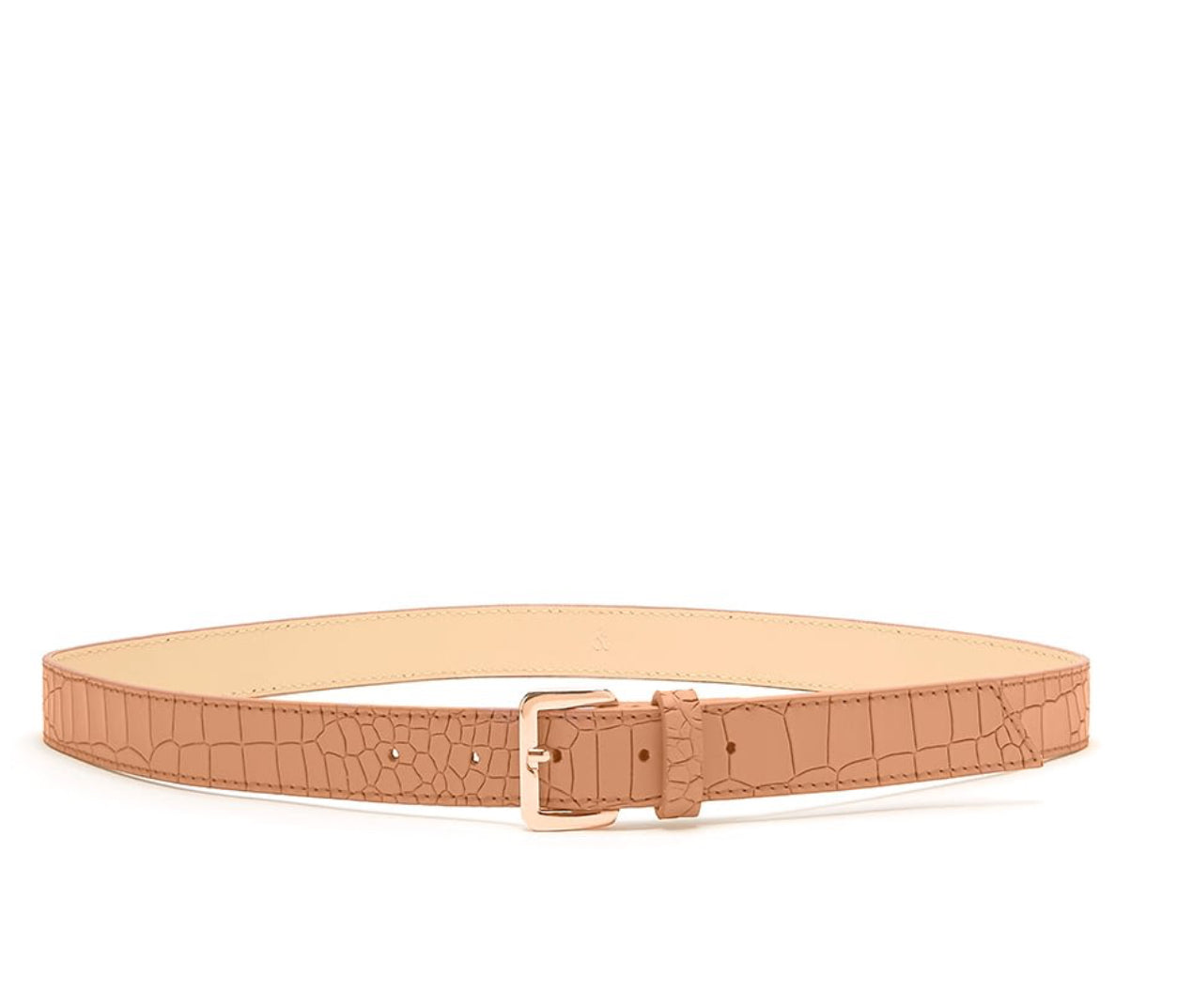 Bell & Fox Erin Croc Embossed Leather Belt - available in black, camel and pewter