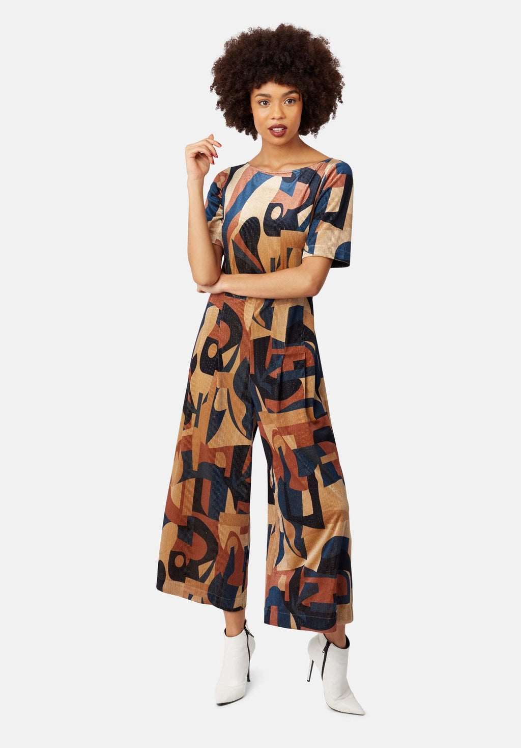 Traffic People Bianca Jumpsuit- blue/multi-11535033
