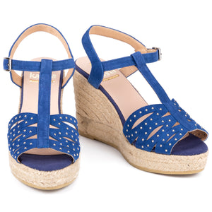 Kanna Ines Suede Blue T-Bar Wedges