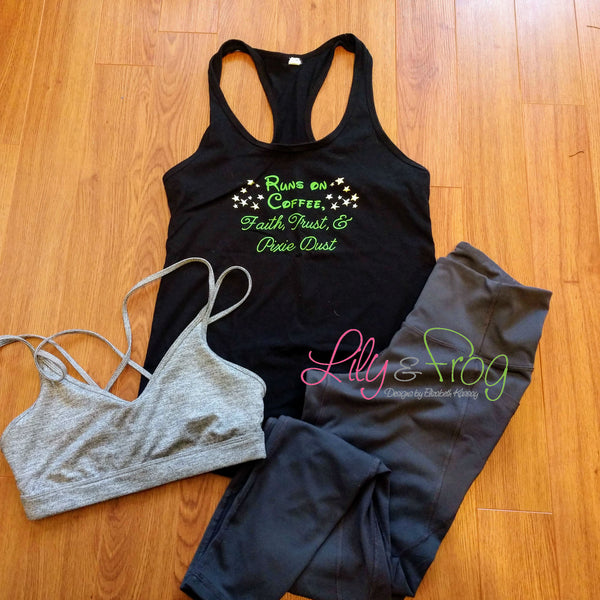 Runs on Coffee, Faith Trust & Pixie Dist Women's Racerback & Fitted Tank Top