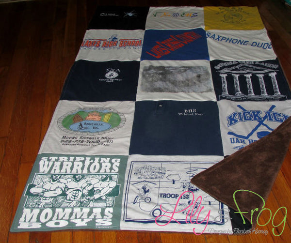 "Keepsake T-Shirt Blanket Size Small Blanket (Lap Blanket) with 12""x12"" squares"
