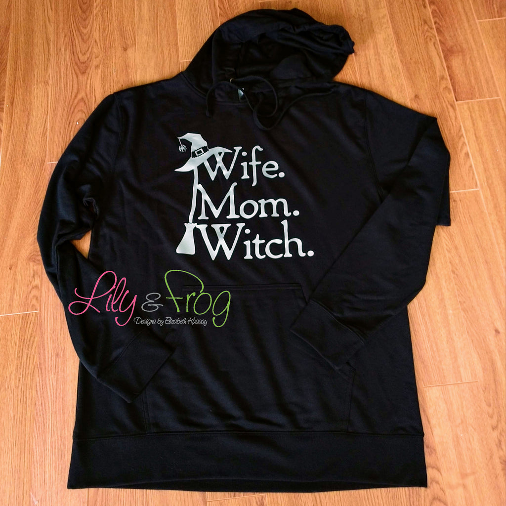 Wife, Mom, Witch Women's Lightweight Hooded Sweatshirt