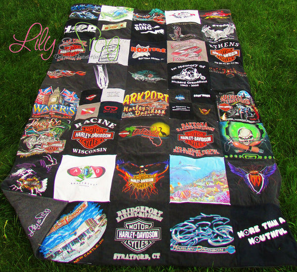 "Keepsake T-Shirt Blanket Size Extra-Extra Large Blanket (Long Twin Blanket) with 12""x12"" squares"