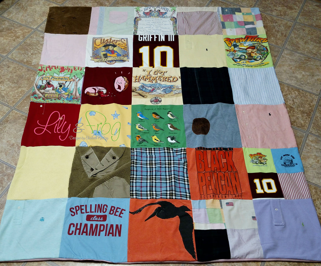 "Keepsake T-Shirt Blanket Size Large Blanket (Small Twin Blanket) with 12""x12"" squares"