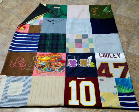 "Keepsake T-Shirt Blanket Size Medium Blanket (Throw Blanket) with 12""x12"" squares"